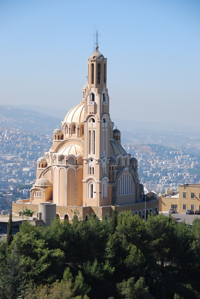 Close up of the church on the hill overlooking Jounieh.