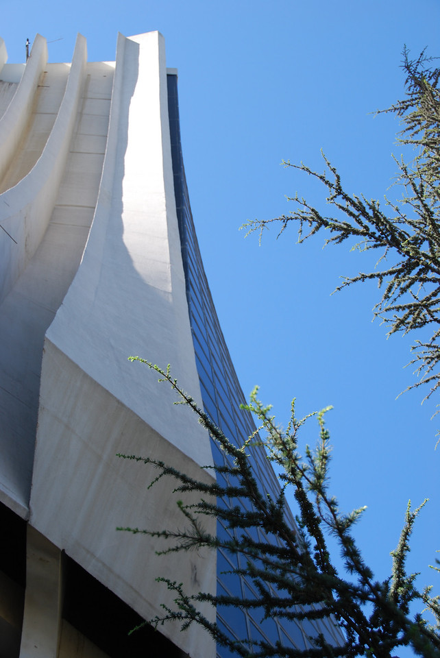 The sharp lines of the new cathedral on the hill at Jounieh.