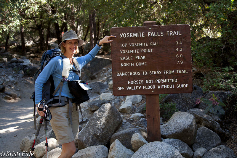 Day hiking up to Yosemite Falls.  I think there is a mosquito on my neck!
