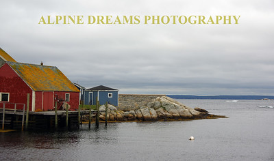 BUILDINGS BY THE SEA IN PEGGYS COVE