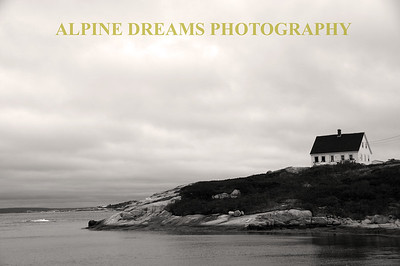 HOUSE ON THE HILL PEGGYS COVE IN B&W