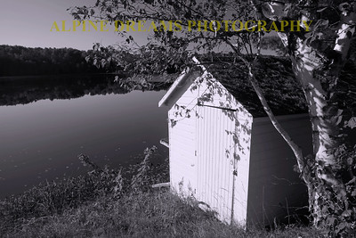 BOATHOUSE B&W LANDSCAPE