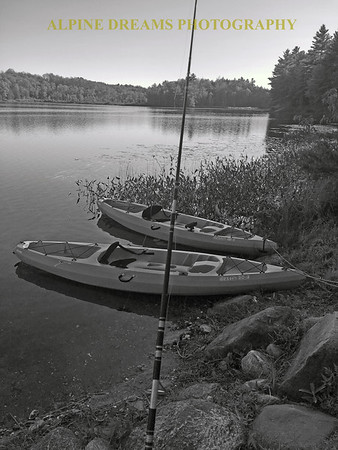 FISHING KAYAKS IN BLACK & WHITE