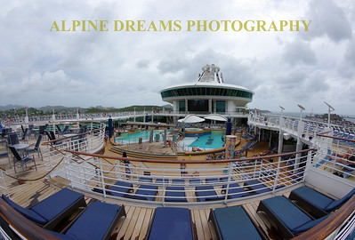 CRUISE SHIP  VIEW ABOVETHE POOLS
