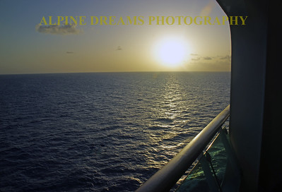 CRUISE SHIP SUNSET FROM THE BALCONY