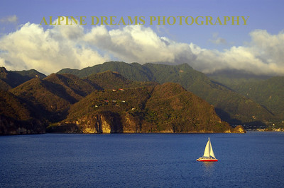 Pitons red Sailboat