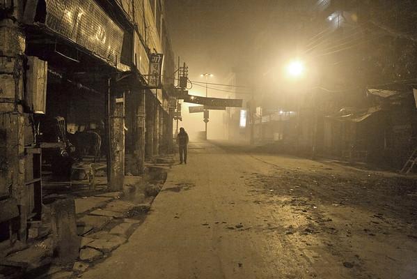 Old town Varanasi street pre-dawn