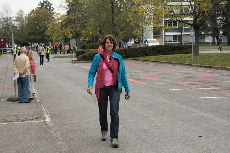 CERN campus; striding bravely forth towards the bus.