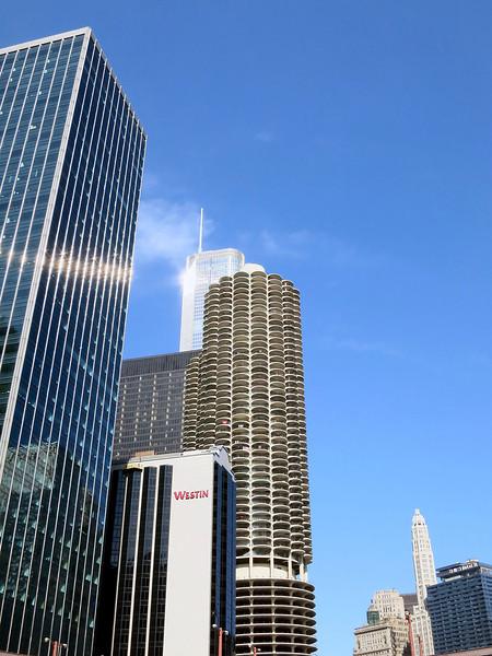 35-Bertrand Goldberg's Marina City corn cobs, 1964 (center). Trump tower behind (glinting). Wrigley Tower, right.