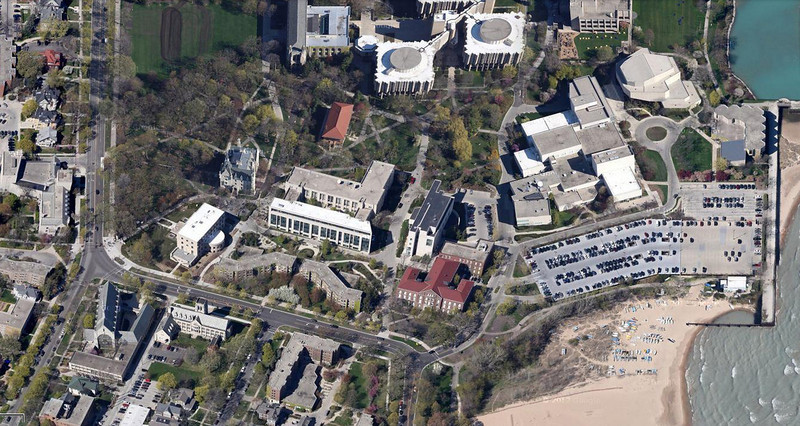 20-The red roofed building at bottom center is Northwestern's Medill School of Journalism, Sheridan Rd at Campus Drive. (Google Maps)