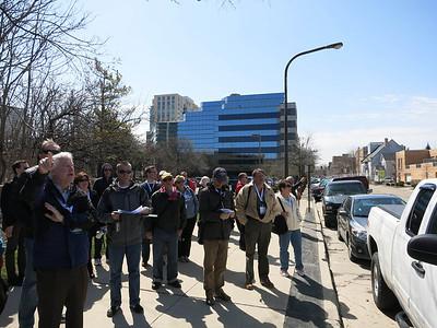 5-I'm looking south on Oak Av from Clark at buildings on Church St. That's speaker/leader Dennis Marino at left.