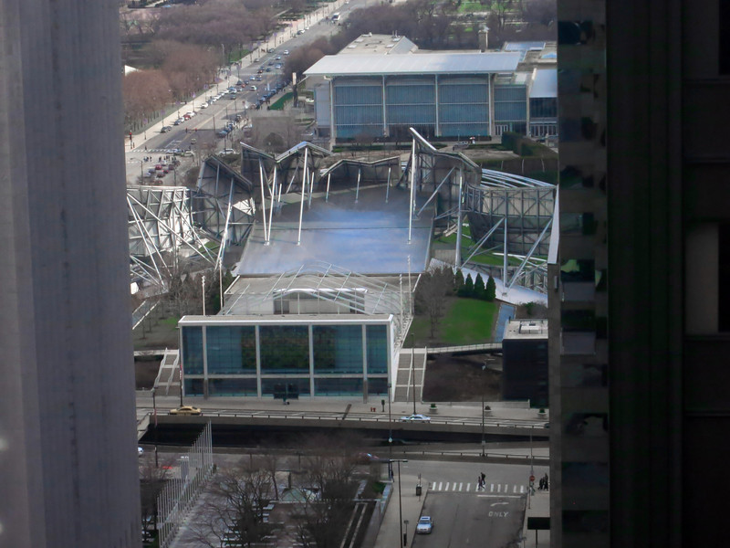 11-Along Columbus Drive: Jay Pritzker Pavilion (middle) and Art Institute's new wing (top right) seen from Hyatt 3002.