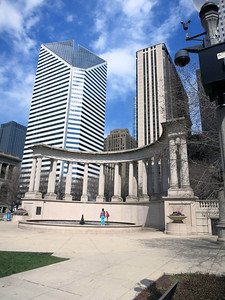3-Smurfit-Stone Building and Wrigley Peristyle at north end of Millennium Park.