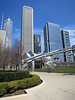 21-Left to right: Two Prudential Plaza, Aon, Aqua, Blue Cross. Frank Gehry's Jay Pritzker Pavilion at ground level.