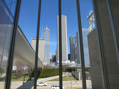 26-Inside the Art Institute, looking north at Nichols Bridge (left) and Pritzker Pavilion (center; Aon building towers behind).