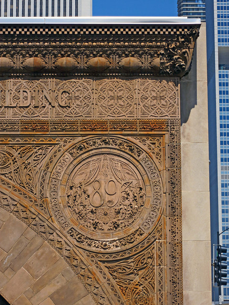 37-Medallion, Chicago Stock Exchange arch, 1893, Louis Sullivan.