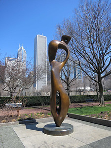 """27-Buildings: Prudential One and Two; Aon. Henry Moore """"Large Interior Form,"""" Art Institute."""