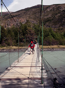 Patagonia - bridge to Lake Grey and glaciers