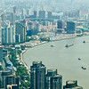 view of Shanghai and the river from above