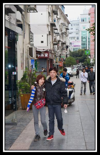 Walking along shopping mall in Guilin....