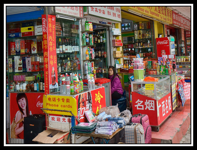 Vendor's stalls in Guilin....