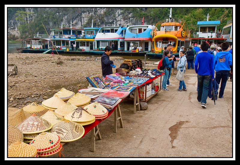 Vendor's tables with boats shown in background...