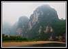Limestone formations in the fog and rain...