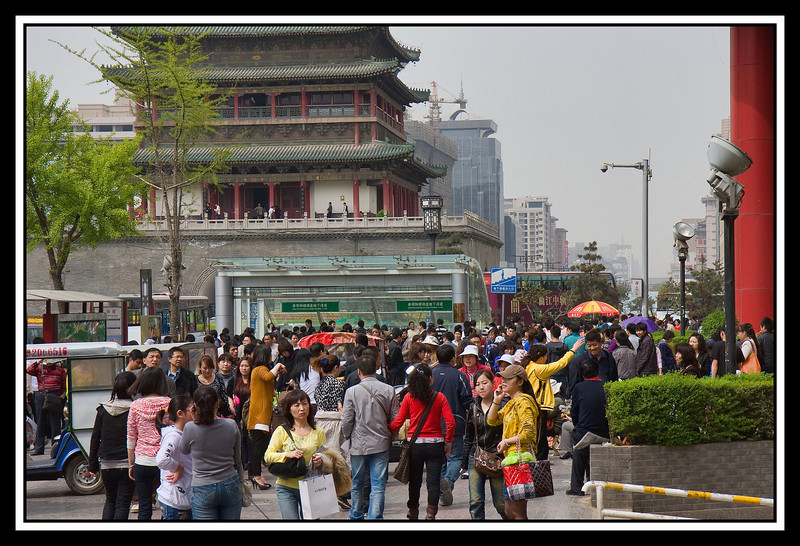 Busy street near walls...