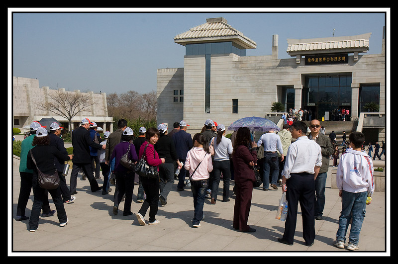 Tourists arriving at entrance of Multiple Exhibition Building...