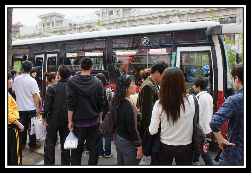 Crowded bus stop...