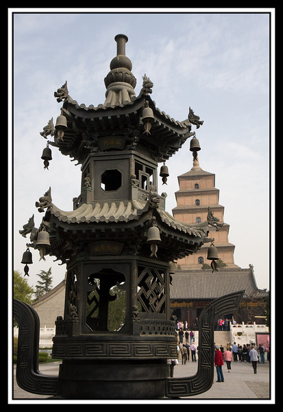 Bell holder with pagoda in background...