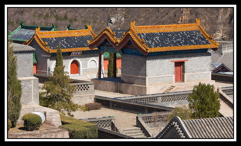 Buildings at base of Great Wall...