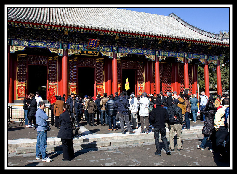 Crowd in front of temple at the Summer Palace...