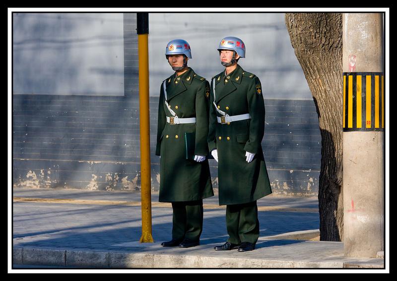 Military Policemen on corner...