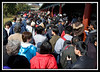Crowd along walkway...