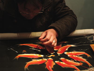 China. Old Shanghai. Silk Embroidery workshop.