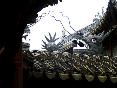 China. Old Shanghai. Yuyuan Garden. Dragon.