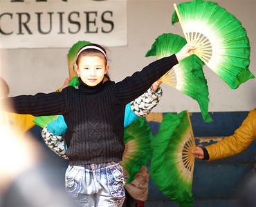 China. Yueyang. Elementary school children perform dance.