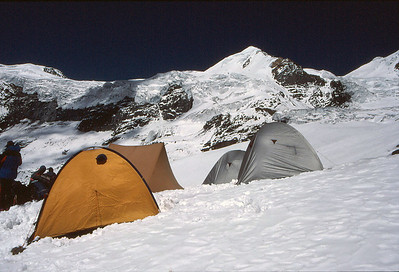 Chulu East high camp, with the peak behind
