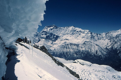 Looking towards Annapurnas ii and iv from an ice cave just below the summit ridge of Chulu east