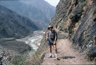 Me, early on during the walk-in to Chulu East, on the main Annapurna Circuit trail