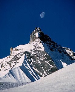 Mountain and the Moon. This was taken during the Thorung Peak climb, a piece of pure luck.