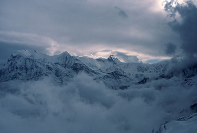 Looking towards Annapurna fron high on Chulu east as the weather closes in