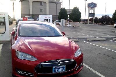 Charging at Hampton Inn in Gallup NM on return trip.