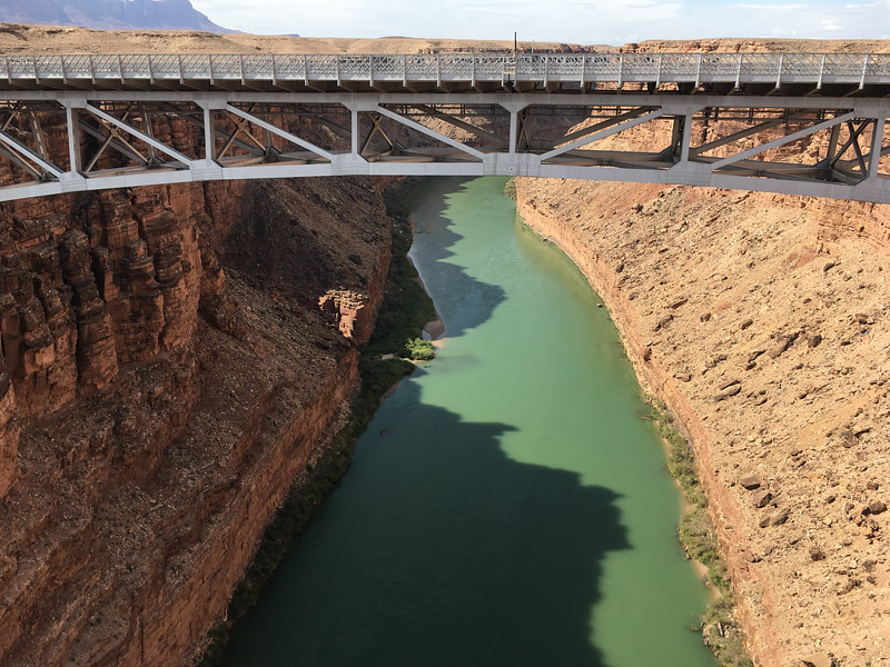CROSSING OF THE NAVAJO BRIDGE ON THE WAY TO LEE'S FERRY AND THE  RAFTS