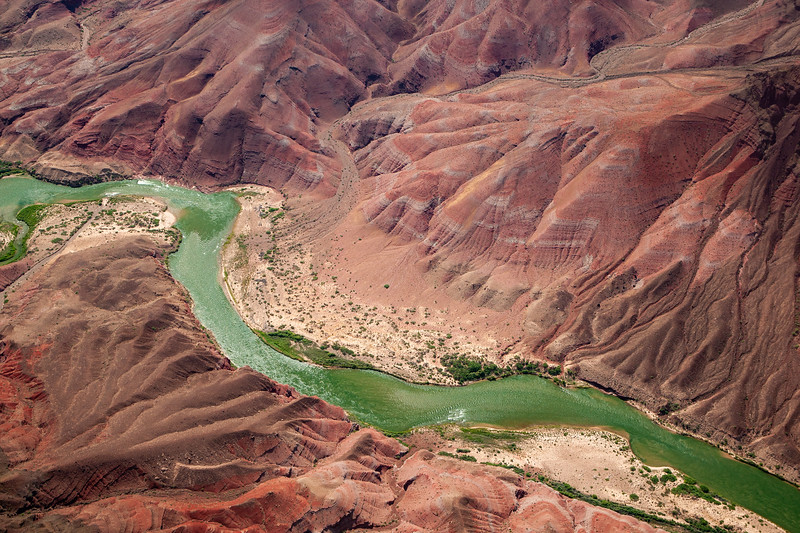 A VIEW OF THE COLORADO RIVER FROM A HELICOPTER