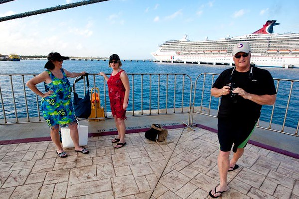 SHERRY, JONELL AND MIKE ON THE COZUMEL PIER