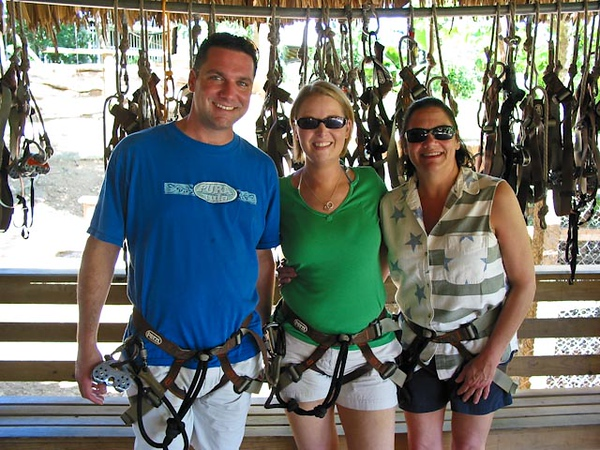 KENDALL, SUNNY AND KIM IN ZIPLINE HARNESSES