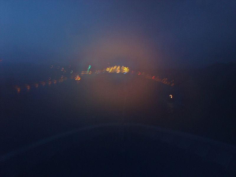 Entering Panama Canal from Caribbean Sea side. Air moisture blurred the lens until I wiped it off! It's about 5am!