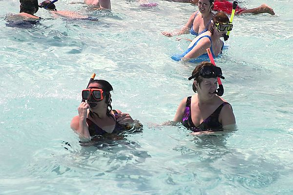"THE ""SNORKEL BABES"" AT STINGRAY CITY, G.C."